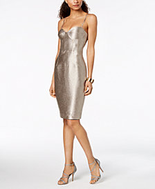 Bardot Metallic Corset Midi Sheath Dress