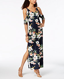 RACHEL Rachel Roy Floral Cold-Shoulder Maxi Dress