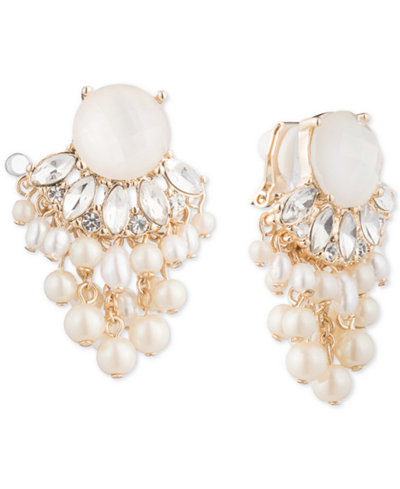 Carolee Gold Tone Crystal Imitation Pearl Clip On Chandelier Earrings