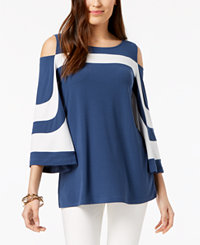 Alfani Colorblocked Cold-Shoulder Top