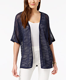 Alfani Sheer Wave-Stitch Cardigan, Created for Macy's