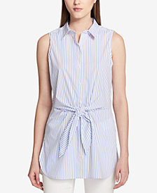 Calvin Klein Sleeveless Striped Tie-Waist Shirt
