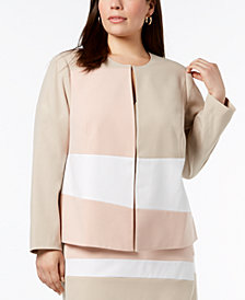 Calvin Klein Plus Size Colorblocked Jacket