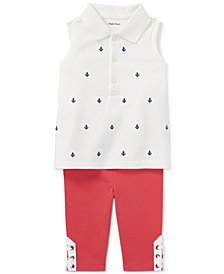 Ralph Lauren Polo Shirt & Leggings Set, Baby Girls