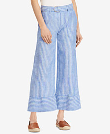 Lauren Ralph Lauren Petite Striped Wide-Leg Linen Pants