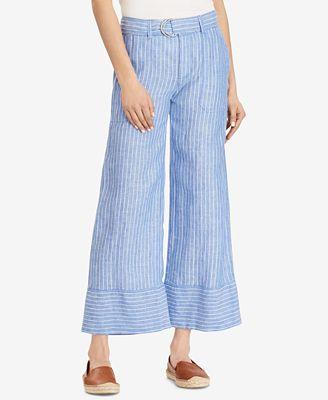 Lauren Ralph Lauren Petite Striped Wide-Leg Linen Pants $75
