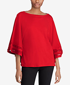 Lauren Ralph Lauren Petite Lace-Sleeve Top