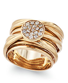 D'Oro by EFFY Diamond Pave-Set Wrap Ring (1/3 ct. t.w.) in 14k Gold