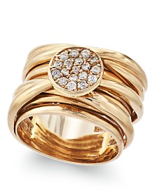 D'Oro by EFFY® Diamond Pave-Set Wrap Ring (1/3 ct. t.w.) in 14k Gold