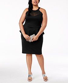 Monteau Trendy Plus Size Peplum Bodycon Dress