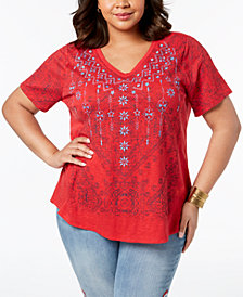 Style & Co Plus Size Graphic Top, Created for Macy's