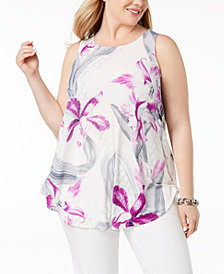 Alfani Plus Size Contrast-Print Swing Tank, Created for Macy's