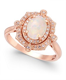 Aurora by EFFY® Opal (5/8 ct. t.w.) and Diamond (1/6 ct. t.w.) Oval Ring in 14k Rose Gold