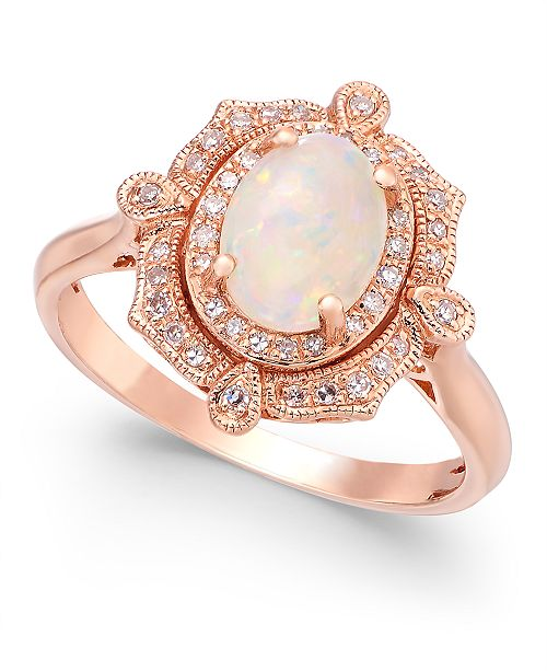 EFFY Collection Aurora by EFFY Opal (5/8 ct. t.w.) and Diamond (1/6 ct. t.w.) Oval Ring in 14k Rose Gold
