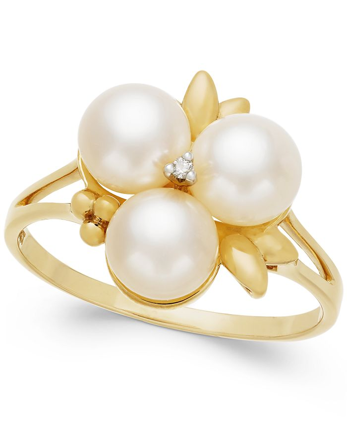 Belle de Mer - Cultured Freshwater Pearl (6mm) and Diamond Accent Ring in 14k Gold