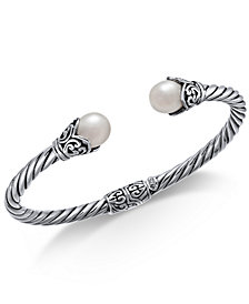 Cultured Freshwater Pearl (8mm) Filigree Bangle Bracelet in Sterling Silver