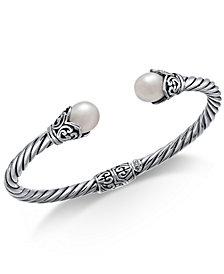 Cultured Freshwater Pearl (8mm) Filigree Bangle Bracelet in Sterling Silver