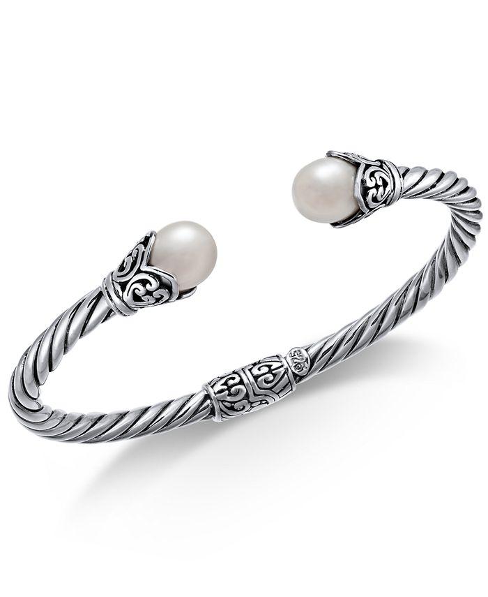 Macy's - Cultured Freshwater Pearl (8mm) Filigree Bangle Bracelet in Sterling Silver