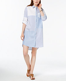 Tommy Hilfiger Mixed-Print Long-Sleeve Shirtdress, Created for Macy's