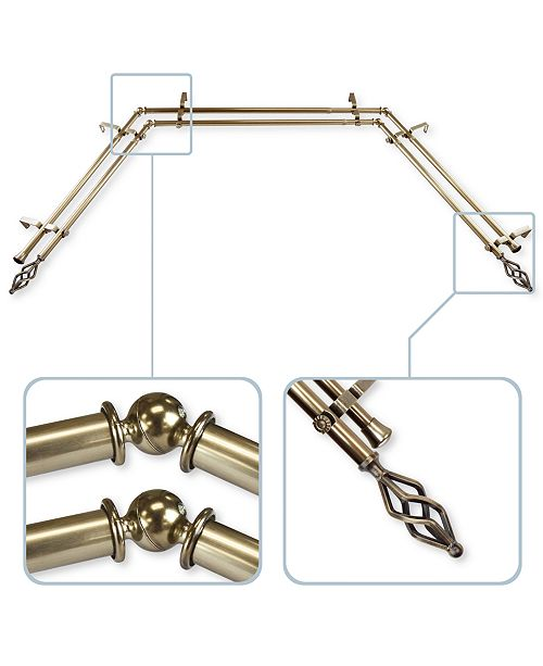 """Rod Desyne CLOSEOUT! Marquise 13/16"""" Bay Window Double Curtain Rod 78""""-144"""""""