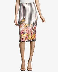 ECI Mixed-Print Pencil Skirt