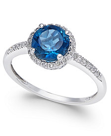 London Blue Topaz (1-3/8 ct. t.w.) and Diamond (1/8 ct. t.w.) Ring in 14k White Gold