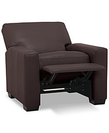 "Ennia 36"" Leather Pushback Recliner, Created for Macy's"