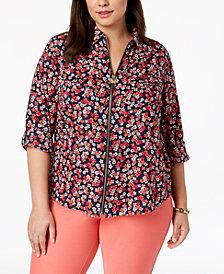 MICHAEL Michael Kors Plus Size Floral-Print Zip-Front Shirt