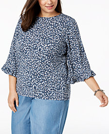 MICHAEL Michael Kors Plus Size Printed Ruffled-Sleeve Top