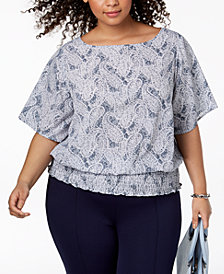 MICHAEL Michael Kors Plus Size Printed Smocked-Hem Top