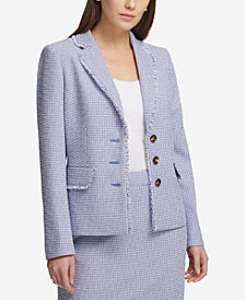 DKNY Three-Button Tweed Blazer, Created for Macy's