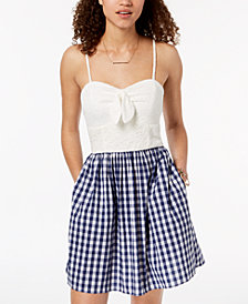 BCX Juniors' Lace & Gingham Fit & Flare Dress