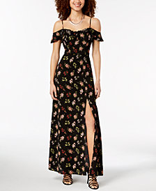 B Darlin Juniors' Off-the-Shoulder Floral Maxi Dress