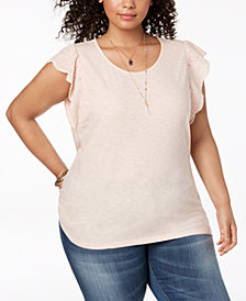 Style & Co Plus Size Cotton Flutter-Sleeve T-Shirt, Created for Macy's