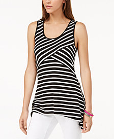 I.N.C. Striped Handkerchief-Hem Tank Top, Created for Macy's