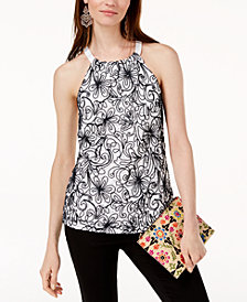 I.N.C. Embroidered Lace Halter Top, Created for Macy's