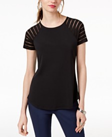 I.N.C. Petite Illusion-Sleeve T-Shirt, Created for Macy's