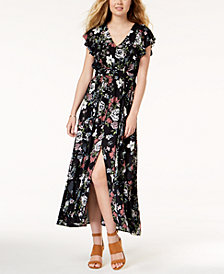American Rag Juniors' Printed Ruffled Maxi Dress, Created for Macy's