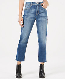 Black Daisy Juniors' Bella Cropped Raw-Edged Jeans