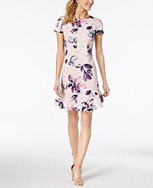 Ivanka Trump Floral Printed Flounce-Hem Dress