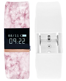iFitness Pulse Women's Blush Print & White Silicone Strap Smart Watch 18x20mm