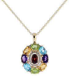"""Sophisticate by EFFY® Multi-Gemstone (3-1/2 ct. t.w.) & Diamond (1/8 ct. t.w.) Pendant Necklace in 14k Gold, 16"""" + 2"""" extender"""