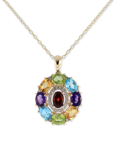 Sophisticate by EFFY® Multi-Gemstone (3-1/2 ct. t.w.) & Diamond (1/8 ct. t.w.) Pendant Necklace in 14k Gold, 16