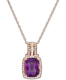 """Amethyst (2 ct. t.w.) & Diamond (1/5 ct. t.w.) 18"""" Pendant Necklace in 14k Rose Gold"""