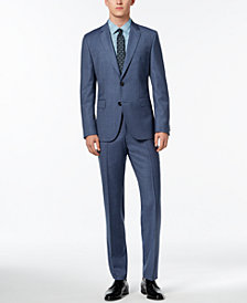 HUGO Men's Modern-Fit Medium Blue Textured Suit
