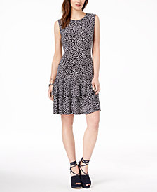 MICHAEL Michael Kors Animal-Print Flounce Dress, Regular & Petite