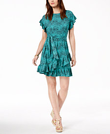 MICHAEL Michael Kors Printed Ruffled Faux-Wrap Dress, Regular & Petite
