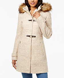 Ivanka Trump Faux-Fur-Trim Hooded Coat