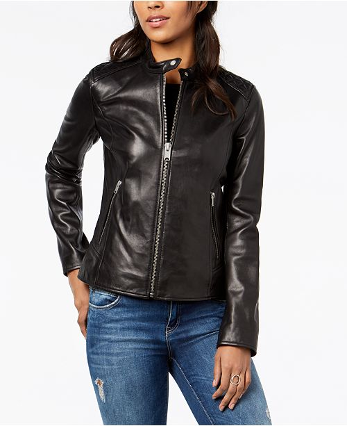 30a472bfab Marc New York Quilted Leather Moto Jacket   Reviews - Coats - Women ...