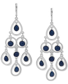 Nine West Silver-Tone Stone Chandelier Earrings